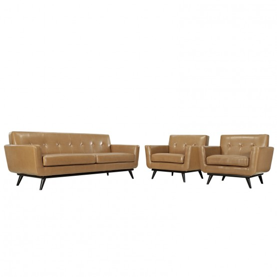 Engage 3-Pc Tufted Leather Living Room Set photo