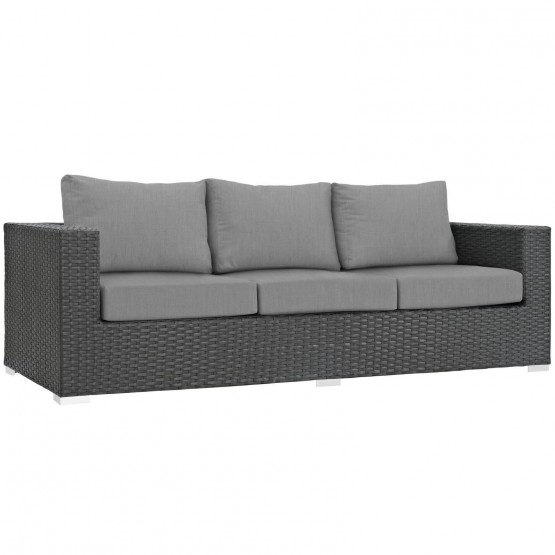 Sojourn Outdoor Patio Sunbrella/Synthetic Rattan Weave Sofa photo
