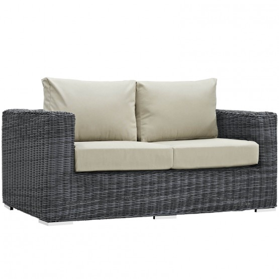 Summon Sunbrella/Synthetic Rattan Weave Outdoor Patio Loveseat photo