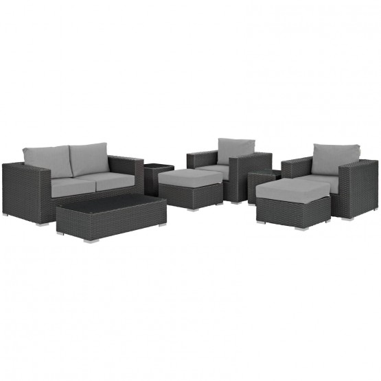 Sojourn 8-Pc Sunbrella/Synthetic Rattan Weave Outdoor Patio Sectional Set photo