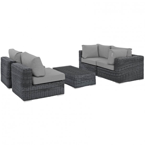 Summon 5 Piece Outdoor Patio Sunbrella/Synthetic Rattan Weave Sectional Set photo