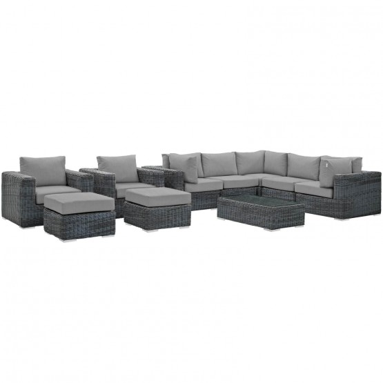 Summon 10 Piece Outdoor Patio Sunbrella Sectional Set photo