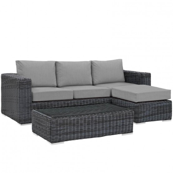 Summon 3 Piece Outdoor Patio Sunbrella Sectional Set photo