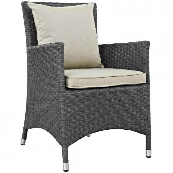 Sojourn Dining Outdoor Patio Sunbrella/Synthetic Rattan Weave Armchair photo