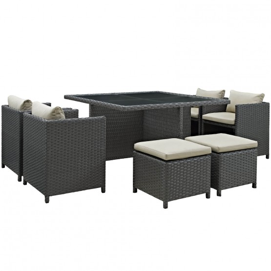 Sojourn 9 Piece Sunbrella/Synthetic Rattan Weave Outdoor Patio Dining Set photo