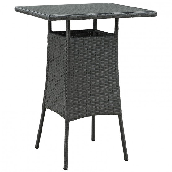 Sojourn Small Synthetic Rattan Weave Outdoor Patio Bar Table photo