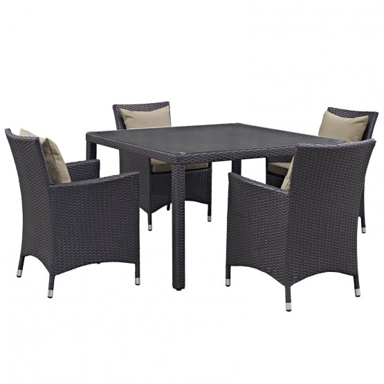 Convene 5 Piece Synthetic Rattan Weave Outdoor Patio Dining Set photo