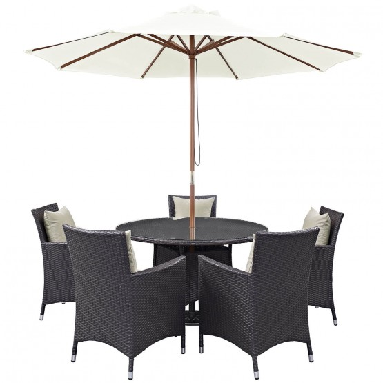 Convene 7 Piece Synthetic Rattan Weave Outdoor Patio Dining Set photo