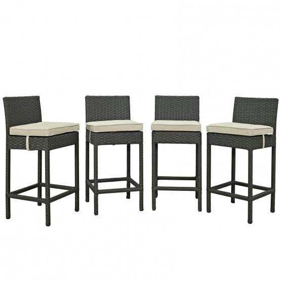Sojourn 4 Piece Outdoor Patio Sunbrella/Synthetic Rattan Weave Pub Set photo