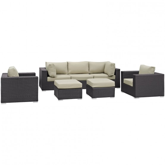 Convene 7 Piece Synthetic Rattan Weave Outdoor Patio Sectional Set photo