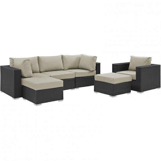 Convene 6-Pc Synthetic Rattan Weave Outdoor Patio Sectional Set photo