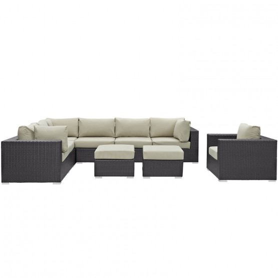Convene 9 Piece Synthetic Rattan Weave Outdoor Patio Sectional Set photo