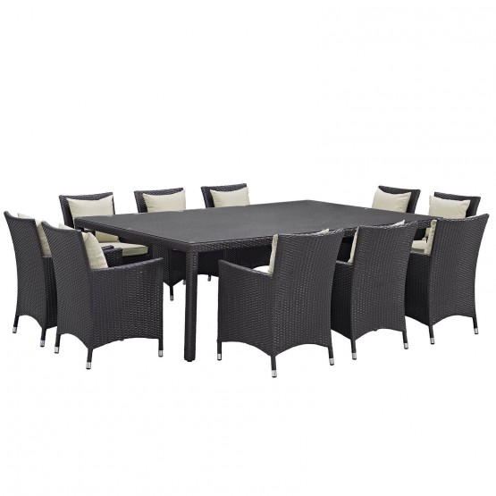 Convene 11 Piece Synthetic Rattan Weave Outdoor Patio Dining Set photo