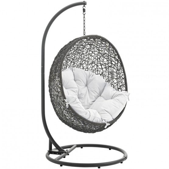Hide Outdoor Patio Synthetic Rattan Weave Swing Chair With Stand photo