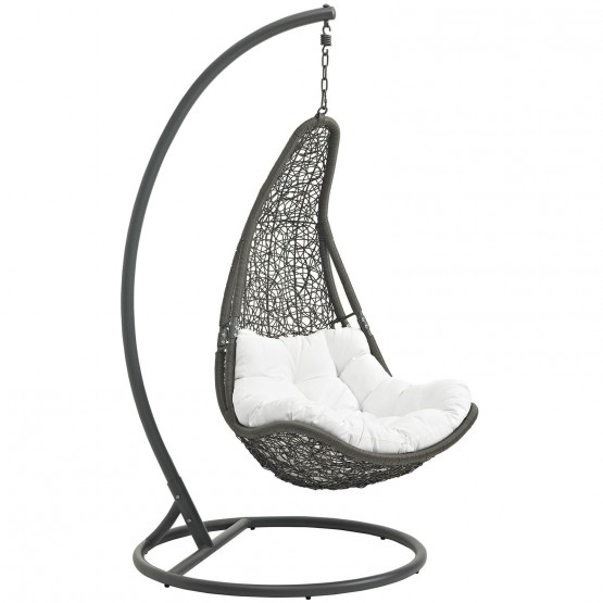 Abate Outdoor Patio Synthetic Rattan Weave Swing Chair With Stand photo