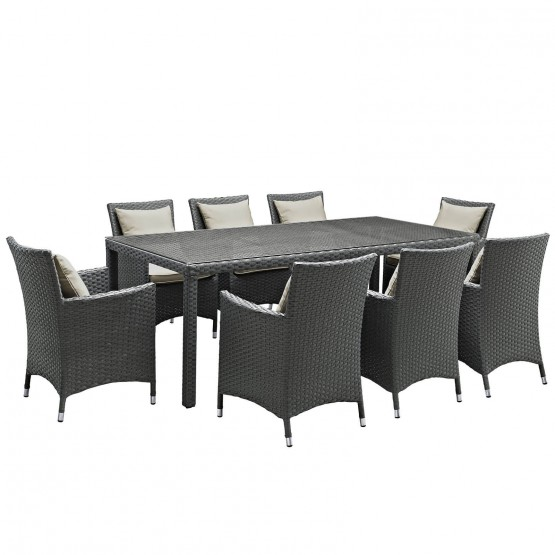 Sojourn 9 Piece Outdoor Patio Sunbrella/Synthetic Rattan Weave Dining Set photo