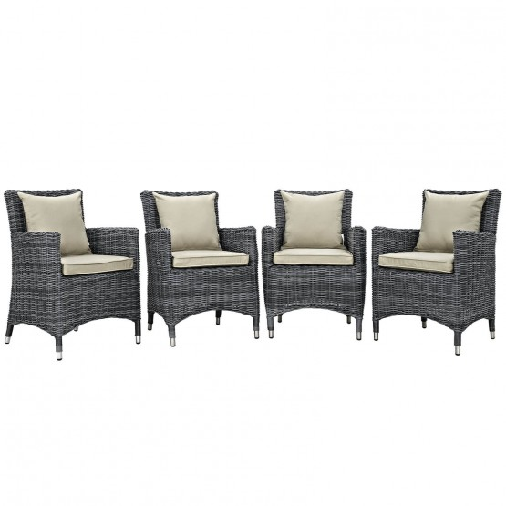 Summon 4 Piece Outdoor Patio Sunbrella/Synthetic Rattan Weave Dining Set photo