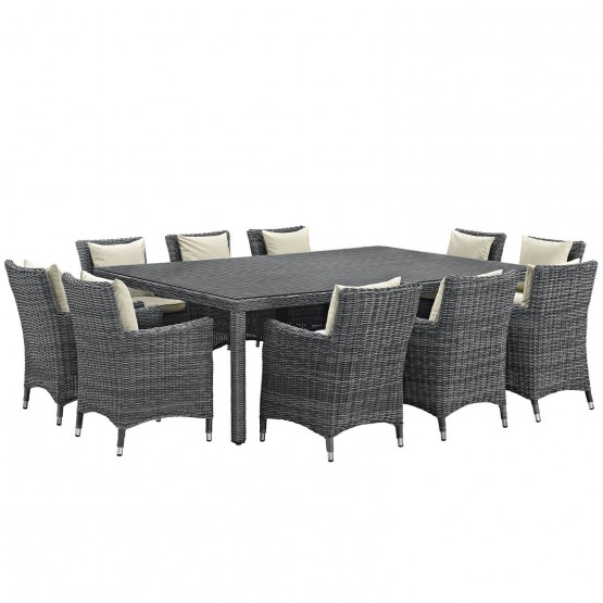 Summon 11 Piece Outdoor Patio Sunbrella Dining Set photo