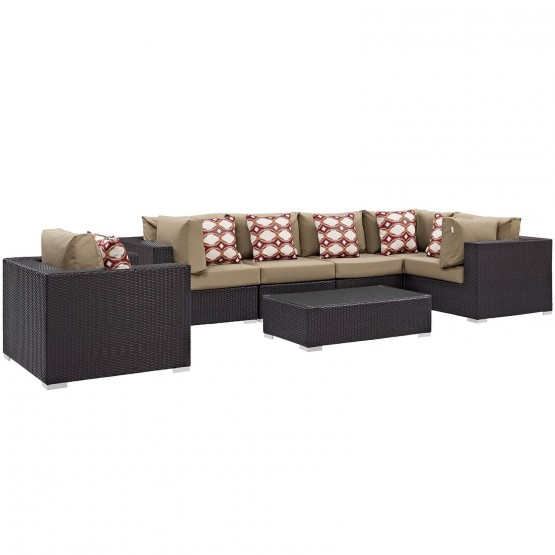 Convene 7 Piece Outdoor Patio Synthetic Rattan Weave Sectional Set photo