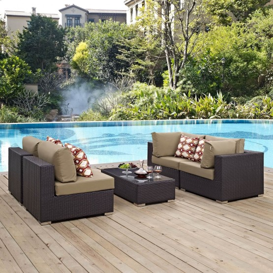 Convene 5 Piece Outdoor Patio Synthetic Rattan Weave Sectional Set photo