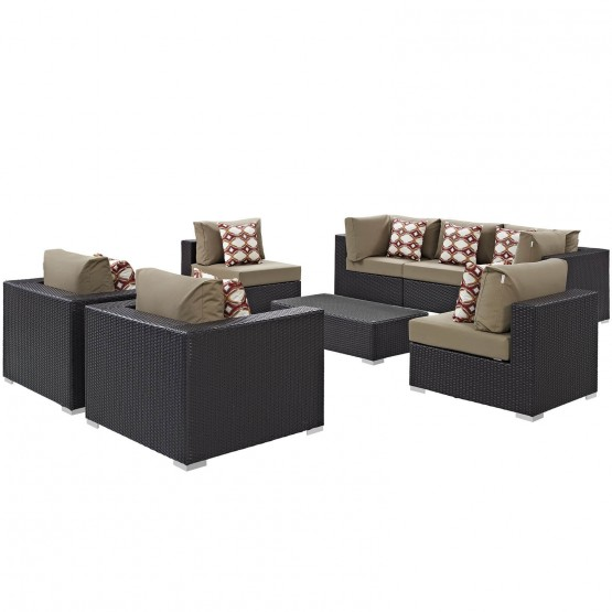 Convene 8 Piece Outdoor Patio Synthetic Rattan Weave Sectional Set photo