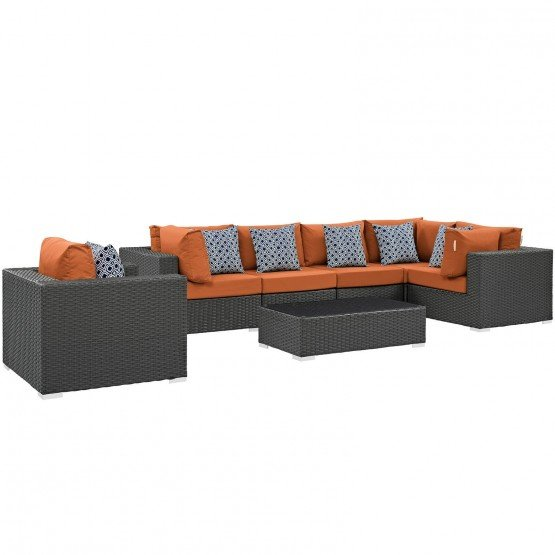 Sojourn 7 Piece Outdoor Patio Sunbrella/Synthetic Rattan Weave Sectional Set photo
