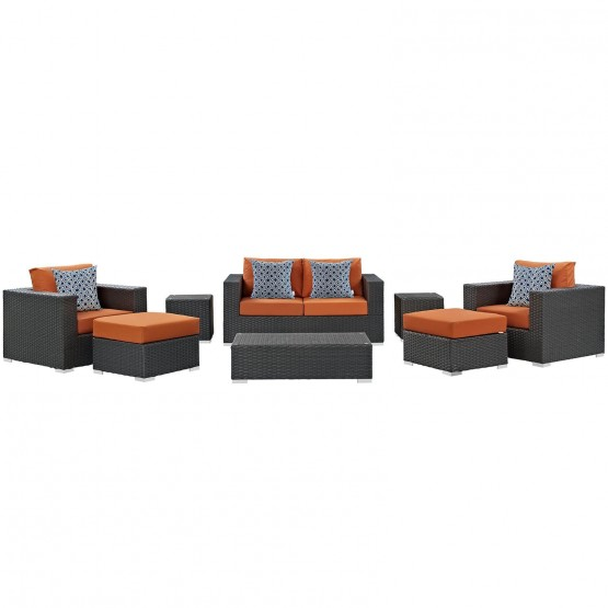 Sojourn 8 Piece Outdoor Patio Sunbrella Sectional Set photo
