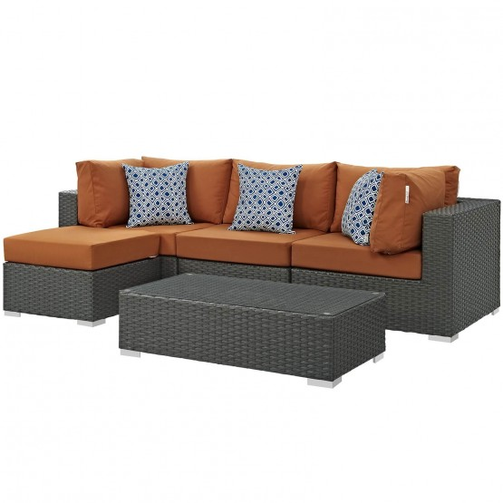 Sojourn 5 Piece Outdoor Patio Sunbrella/Synthetic Rattan Weave Sectional Set photo