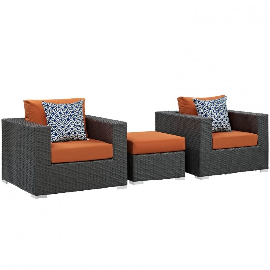 Sojourn 3-Pc Outdoor Patio Sunbrella/Synthetic Rattan Weave Sectional Set, Composition 4 photo
