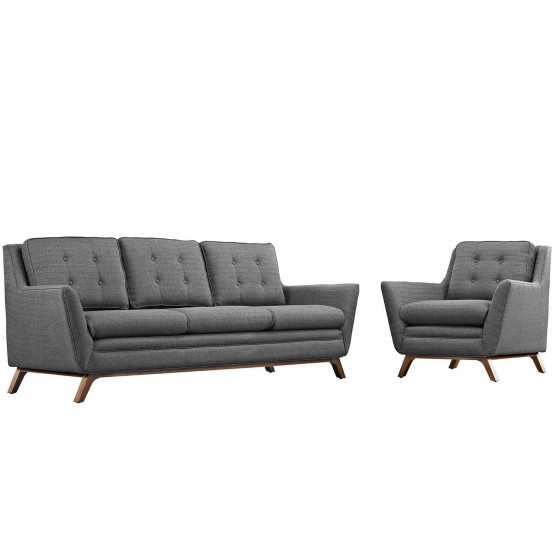 Beguile Living Room Set Upholstered Fabric Set of 2 photo