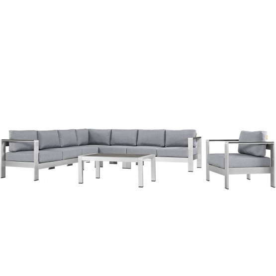 Shore 4 Piece Outdoor Patio Aluminum Sectional Sofa Set photo