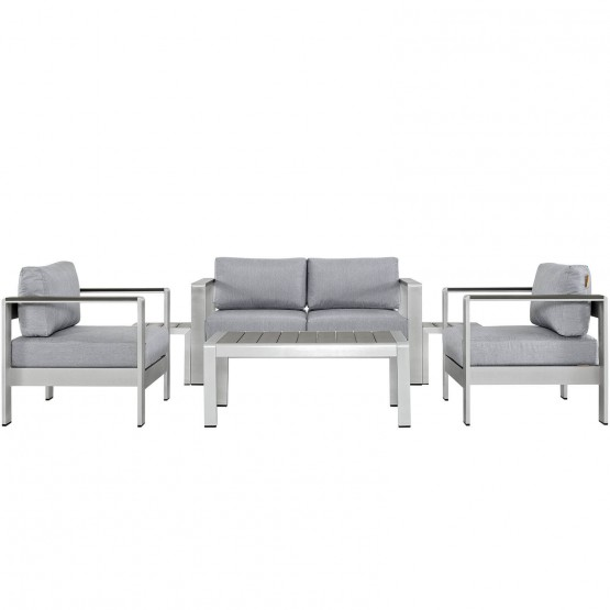 Shore 6 Piece Outdoor Patio Aluminum Sectional Sofa Set photo