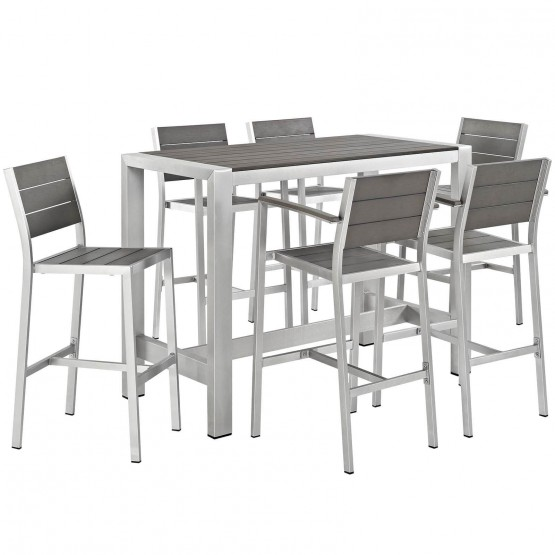Shore 7 Piece Outdoor Patio Aluminum Dining Set photo