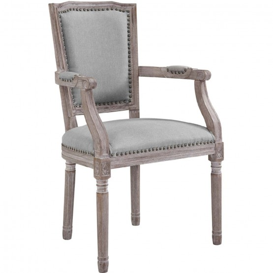 Penchant Vintage French Fabric Dining Armchair photo