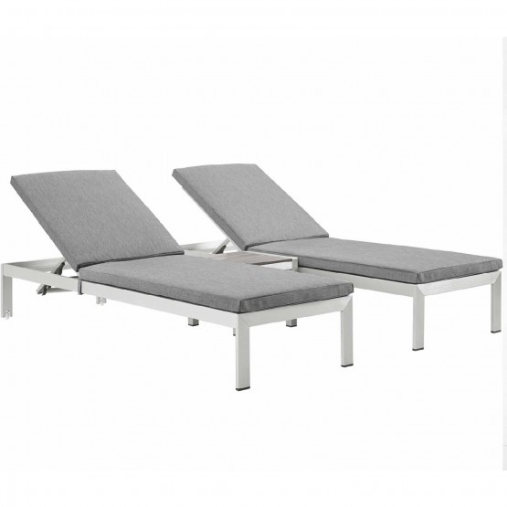Shore 3 Piece Outdoor Patio Aluminum Chaise with Fabric Cushions photo