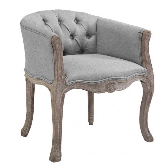 Crown Vintage French Upholstered Fabric Dining Armchair photo