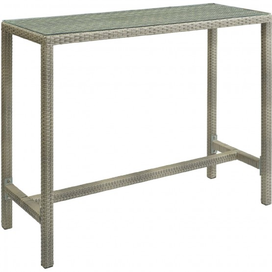Conduit Large Outdoor Patio Wicker Rattan/Glass Bar Table photo