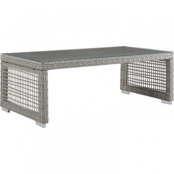 Aura Outdoor Patio Synthetic Rattan/Glass Coffee Table photo