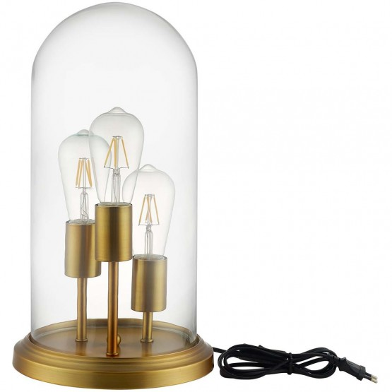 Admiration Cloche Glass/Brass Table Lamp photo