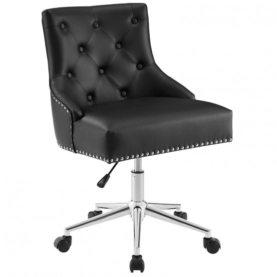 Regent Tufted Button Swivel Faux Leather Office Chair photo