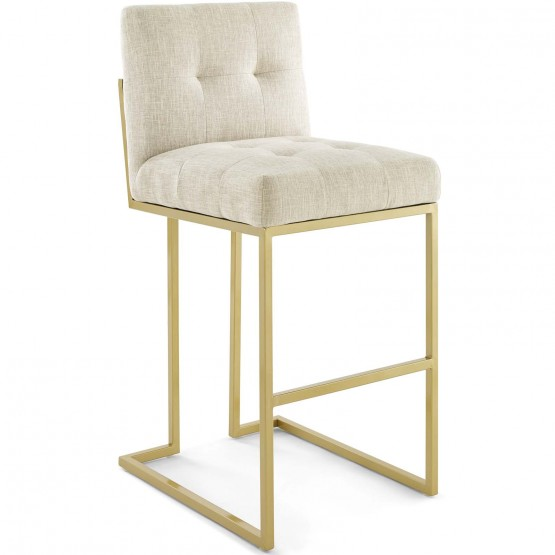 Privy Gold Stainless Steel Upholstered Fabric Bar Stool photo