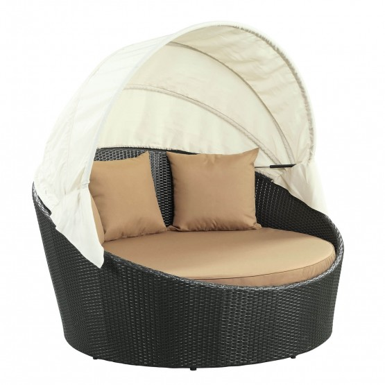 Siesta Canopy Outdoor Patio Synthetic Rattan/Fabric Daybed photo