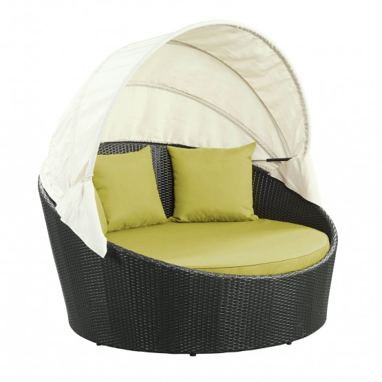 Siesta Canopy Outdoor Patio Daybed, Espresso + Peridot photo