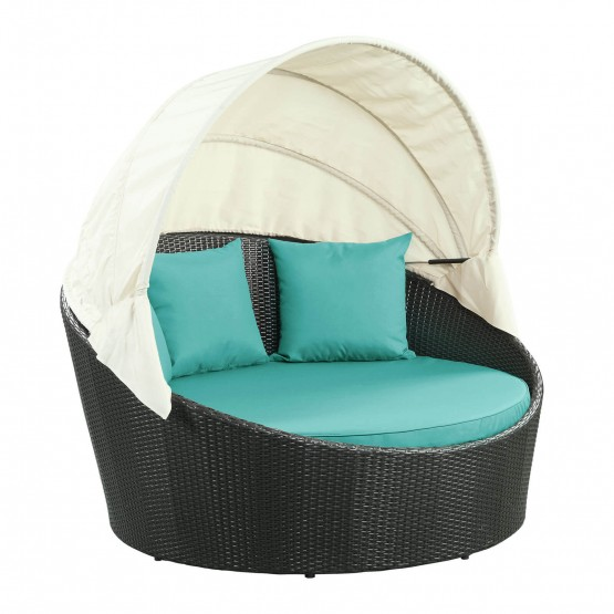 Siesta Canopy Outdoor Patio Daybed, Espresso + Turquoise photo