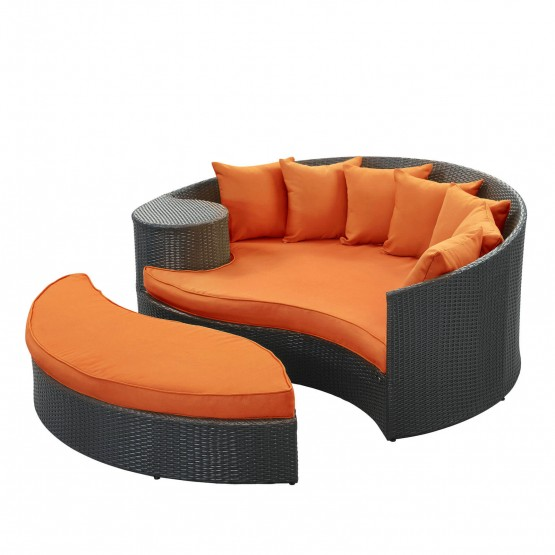 Taiji Outdoor Patio Daybed, Espresso + Orange photo