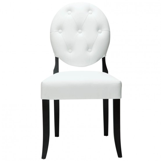 Button Dining Side Chair, White photo