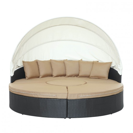 Quest Canopy Outdoor Patio Daybed, Espresso + Mocha photo