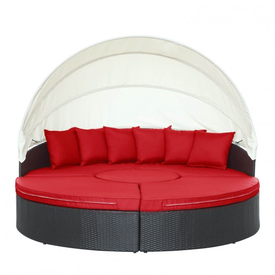 Quest Canopy Outdoor Patio Daybed, Espresso + Red photo