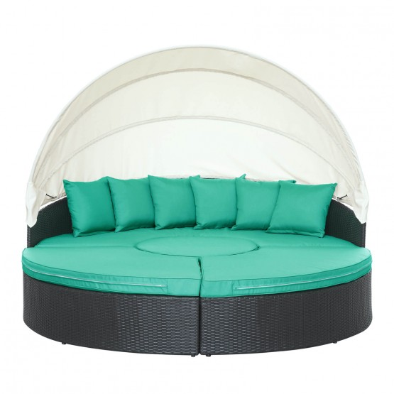 Quest Canopy Outdoor Patio Daybed, Espresso + Turquoise photo