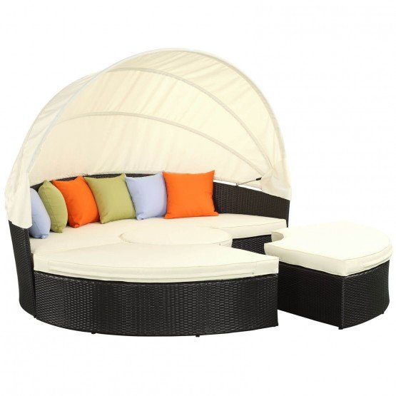 Quest Canopy Outdoor Patio Daybed, Espresso + White photo